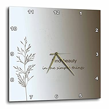 3dRose dpp_130524_3 Zen Find Beauty in Simple Things Cream Nature Art Wall Clock, 15 by 15-Inch