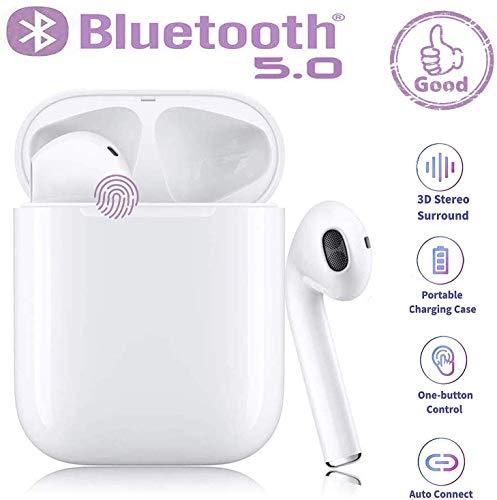 Bluetooth-Kopfhörer 5.0, kabellose Touch-Kopfhörer HiFi-Kopfhörer In-Ear-Kopfhörer Rauschunterdrückungskopfhörer, Tragbare Sport-Bluetooth-Funkkopfhörer, Für Apple Android/iPhone/AirPods Pro - Weiß