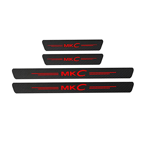 4 st kolfiber bil ytterdörr tröskel skydd sparkplattor, för Lincoln MKC Scuff Guard tröskel skydd pedal auto anti-repor styling kroppsmodifiering beslag