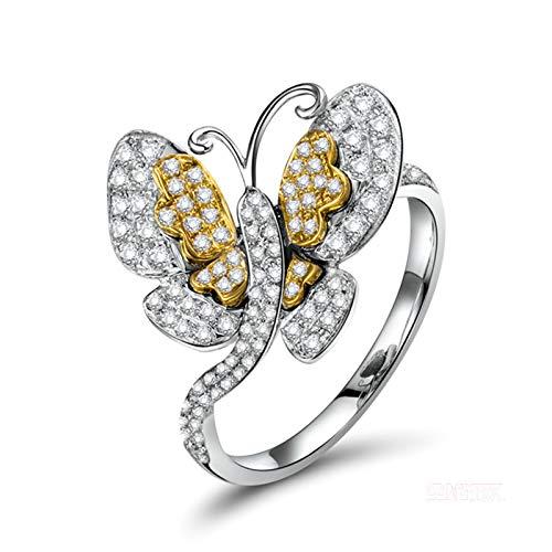Bishilin Anillos de Boda Oro Blanco 750, Mariposa Diamante Anillos de Bandas 0.5ct Diamante Elegante Anillo de Compromiso Marrige Regalos para Cumpleaños Navidad Oro Blanco Talla: 17