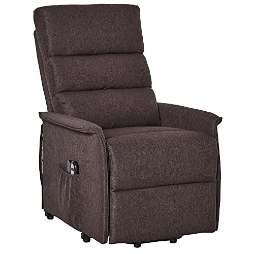 HOMCOM Electric Lift Recliner Massage Chair Vibration with Remote Storage, Living Room Office Furniture, Brown