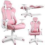 Rosa Gaming Stuhl 150 kg belastbarkeit +2 Kopfkissen | Modern Pink Gaming Chair + 2 Pillow | Gamer Stuhl mit Wippfunktion aus Kunstleder