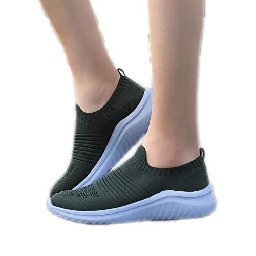 Zapatos casuales cómodos y transpirables para mujer, para caminar, para primavera, verano, talla grande, color sólido, acolchado, color verde, 40