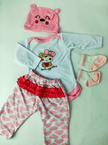 ZIYIUI Ropa de niña para muñecas Reborn de 22-23 Pulgadas, Conjunto de Ropa con patrón de Oso Blanco y Rosa, Accesorio para muñeca recién Nacida