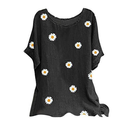 Allence Camiseta de verano para mujer, vintage, algodón, cuello redondo, manga corta, estampado floral, A-negro., XXL