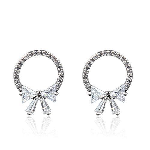 S925 pendientes de plata, pendientes de circonita con anillo de lazo para mujer 1.7cm * 1.2cm