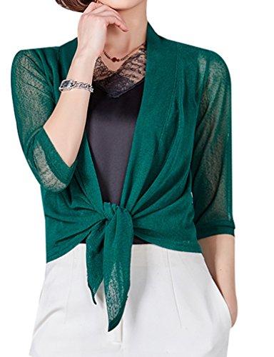 Yasong Women 3/4 Sleeve See Through Tie Up Bolero Shrug Wrap Cropped Top Dark Green UK 6