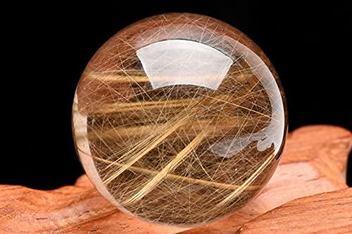 【 福縁閣 】【1点物】放射状金針 ゴールドルチルクォーツ 28mm 丸玉(台座なし)_C3281 【宅急便のみ】 天然石 パワーストーン ビーズ
