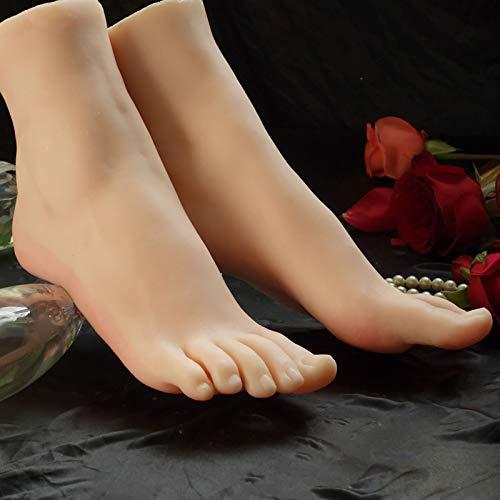 XIAOQIAO Silikon-Mannequin Fuß Weiches Silikon Lebensgroßer Weiblicher Schaufensterpuppenfuß (mit Nägeln) - Lebensechter, Für Skizze Nagelkunstpraxis Schmuck Sandale Schuhsocke (1 Paar)