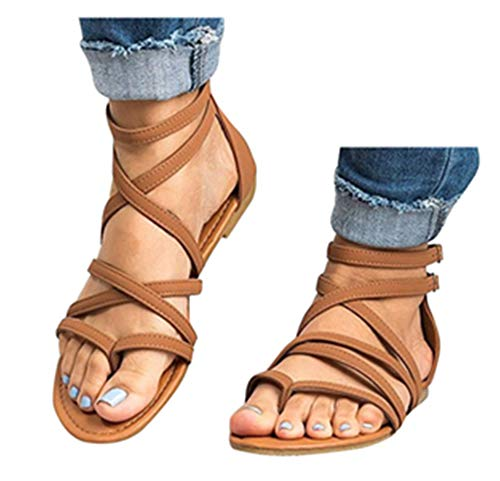 Gyoume Women Shoes Ankle Roman Sandals ShoesFashion Cross Strap Flat Sandals (US:8.5, Brown)