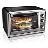 Hamilton Beach Countertop Rotisserie Convection Toaster Oven, Large,Black/ Stainless Steel (31107D) (Renewed)