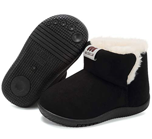 Snow Boots for Toddler Boys Suede Fur Lined Winter Warm Outdoor Footwear Black Toddler Size 4.5 M Toddler