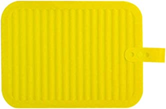 BESTONZON Silicone Hot Pad Solid Color Kitchen Heat Insulation Pot Holder Mat Non-Slip Drain Placemat (Yellow)