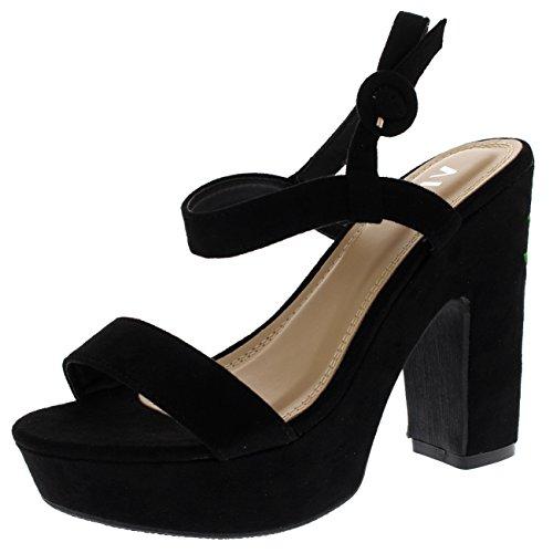 Dames geborduurde bloes met blokhak Platform sandalen met open neus - Zwart - UK3 / EU36 - KL0176