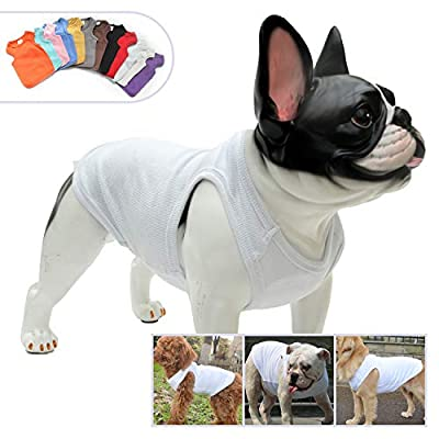 lovelonglong 2019 Summer Pet Clothing, Dog Clothes Blank T-Shirts Ribbed Tanks Top Thread Vests for Large Medium Small Dogs 100% Cotton White S