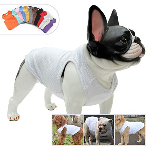Lovelonglong 2019 Summer Pet Clothing, Dog Clothes Blank T-Shirts Ribbed Tanks Top Thread Vests for Bulldog Large Medium Small Dogs 100% Cotton White XL