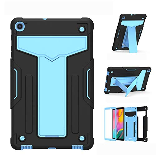 JIANWU Cover, For Samsung Galaxy Tab A8.4 (2020) T307 T-shaped Bracket Contrast Color Shockproof PC + Silicone Flat Protective Case (Color : Black+Blue)