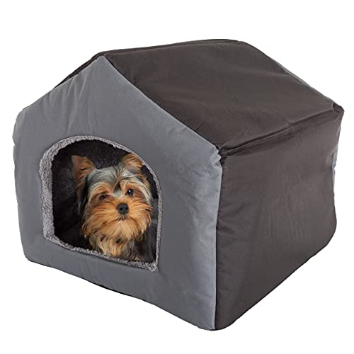 PETMAKER Indoor Dog House – Covered Dog Bed with House Shape and Removable Sherpa Lined Pad – Pet Tent for Cats or Dogs up to 35lbs (Gray)