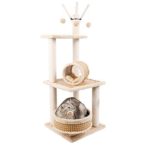 ZXCVASDF Cat Tree, Cat Tower with Scratching Posts, Multi-Level Cat Condo with Tunnel,51 inches Tall Cat House Furniture, Activity Tree Center with Funny Toys, 2 Installation Methods