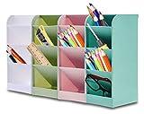 Organizador de Bolígrafos, Speyang Compartimentos Soporte para Bolígrafo, Organizador de Bolígrafos Escritorio, Portalápices Multifuncional(Azul / Verde / Rosa / Blanco)