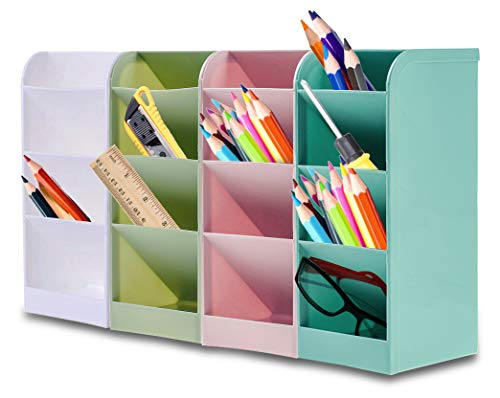 Organizer per Penne, Speyang Organizer da Scrivania per Matite, Penna Organizer Portaoggetti, Porta Penne per Scrivania, Portapenne Multifunzione(Blu/Verde/Rosa/Bianco)