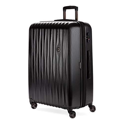 SWISSGEAR 7272 Energie Hardside Polycarbonate Spinner, Large Checked Luggage - Black