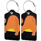 Dataqe Etiquetas para equipaje personalizadas para cubierta de privacidad 2.87 x 4.57 pulgadas (caricatura naranja Png Banded Dragon) Negro Negro (1 piezas