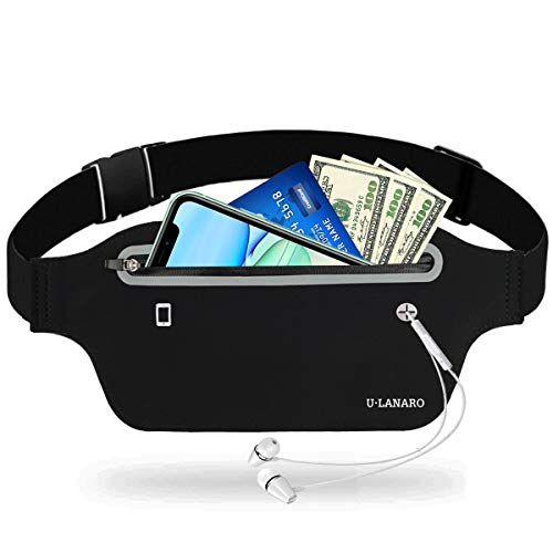 Slim Running Pouch Belt Fany Pack,Workout Waist Bag for Gym Exercise Walking,Travel Money Phone Holder,Jogging Pocket Belt for iPhone 12 11 8 7 Plus XS Max XR Runners Gift Gear Accessories