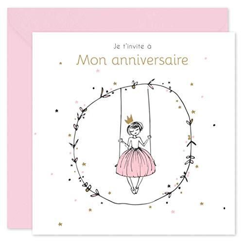 popcarte 16 Cartes d'invitation Anniversaire Fille avec 16 Enveloppes • Princesse (Rose)