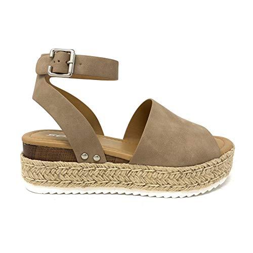 Soda Topic Topshoe Avenue Women's Open Toe Ankle Strap Espadrille Sandal (8, Dk-NAT)