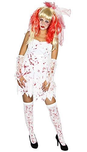 Foxxeo blutige Zombie Braut Kostüm für Kinder und Erwachsene - Damen-Größe XS bis L | Teen-Größe 146 bis 164 | weißes Brautkleid zu Halloween Kleid Größe S