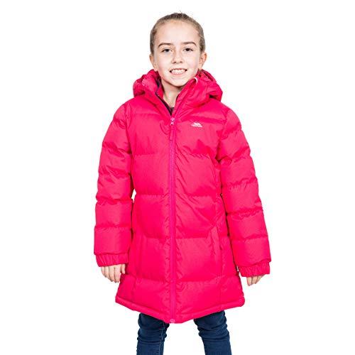 Trespass Tiffy, Raspberry, 9/10, Warme Gepolsterte Wasserdichte Jacke mit abnehmbarer Kapuze für Kinder / Mädchen, 9-10 Jahre, Rosa / Pink