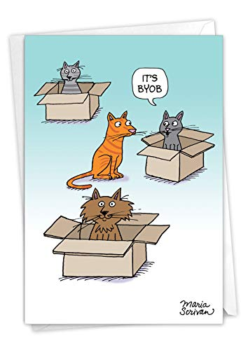 NobleWorks, Bring Your Own Box - Funny Cat Birthday Greeting Card - Pet Cat, Animal Bday Greeting Notecard with Envelope C7278BDG