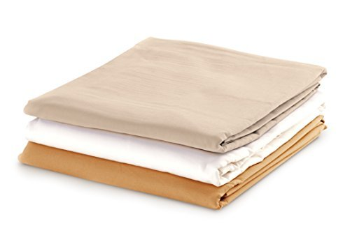 NRG Cotton Poly Fitted Sheet, Natural, Set of 3 - Linens for Spa, Salons & Massage Tables