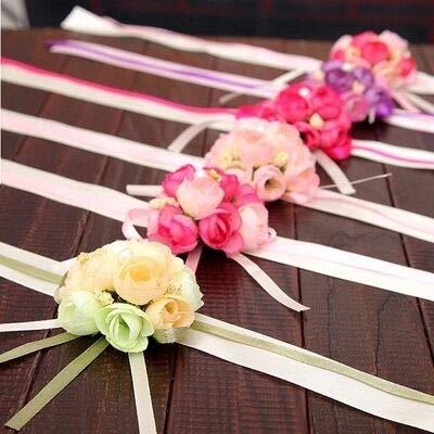 Jieddey Braccialetti da Sposa da Damigella Onore,5 PCS Braccialetti da Sposa de Marrage Corsage da Polso Rosa per Fiore all'occhiello Decorazione da Ballo per Feste Decorazione per Bouquet