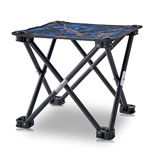 AILLOVCOL Mini Portable Folding Stool, Folding Camping Stool, Mini Portable Chair for Beach, Picnic Party, Camping, Barbecue, Fishing, Hiking, 600D Oxford Cloth with Portable Bag (Blue Camo)