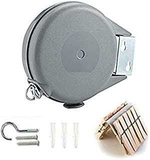 Retractable Clothesline Indoor and Outdoor Heavy Duty Wall Mounted Clothes Line for Wet and Dry Clothing 40 Feet of Retractable Drying Space Easy Installation Clothespins Included