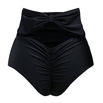 ZOHAMUNG Women s High Waisted Bikini Bottoms Brazilian Cheeky Cut Out Bow Ruched Tankini Panties BK,M  Black
