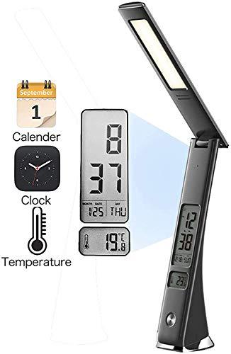 LED Schreibtisch Lampe LED Tischlampe Dimmbar mit USB-Ladeanschluss Hokone Nachttischlampe mit LCD-Bildschirm Uhr, Kalender, Thermometer Dimmbare 5W Schwarz für Arbeit Studium