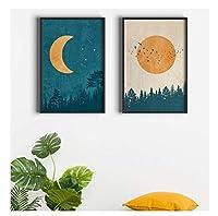 Chenjiaxu 抽象的な自由奔放に生きる風景写真月の太陽のポスターとプリントヴィンテージの壁の芸術北欧の森のキャンバスの絵画寝室の装飾のための-40X50Cmx2フレームなし