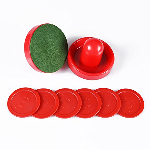 Air Hockey Red Replacement Pucks & Slider Pusher Goalies for Game Tables, Equipment, Accessories (2 Striker, 6 Puck Pack) (Normal)