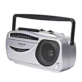 Craig CD6911 Portable Cassette Player/Recorder with AM/FM Radio in Silver and Black | AC/DC Operation | Headphone Jack Supported | Cassette Recorder | Rod Antenna |