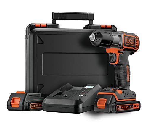 Black+Decker Autosense Akku-Bohrschrauber (Akkubohrer mit Autoselect-Technologie und LED-Arbeitslicht zum Bohren in Holz und Metall und zum Schrauben – 1 x Akkuschrauber Li-Ion 18 V + 2 Akkus) ASD18KB