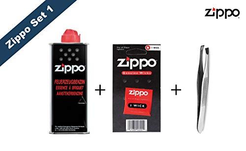 Zippo Zubehör Set 1: 1x Benzin, 1x Feuersteine + Pinzette