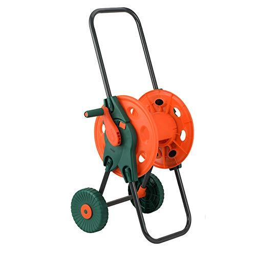 Hokaime Faltbare Gartenschlauch Wagen Tragbarer Garten Wasserschlauchwagen mit Rollen Geeignet für Blumen gießen und Waschen Autos,Orange,with Wheels