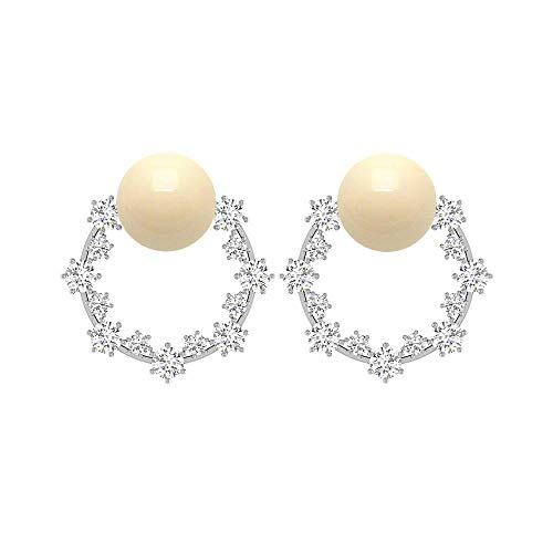 Pendientes de tuerca de perlas cultivadas japonesas de 7 mm, con forma de cúmulo de diamantes, con forma de círculo abierto, pendientes de gota de oro, con rosca trasera marfil