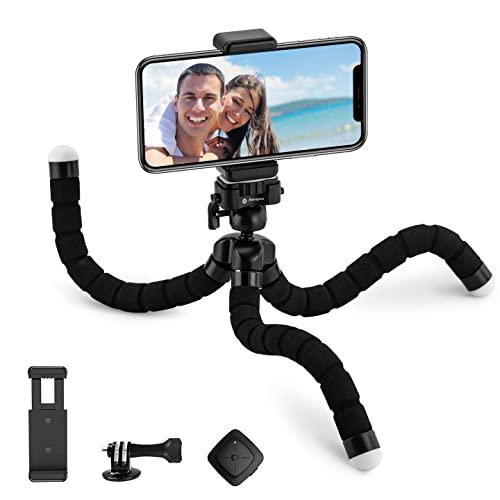 Fotopro Selfie Stick Trépied, Perches Selfie avec Phone Tripod, Monopode avec Télécommande Bluetooth, Adaptateur de Téléphone pour iPhone Huawei Xiaomi One Plus