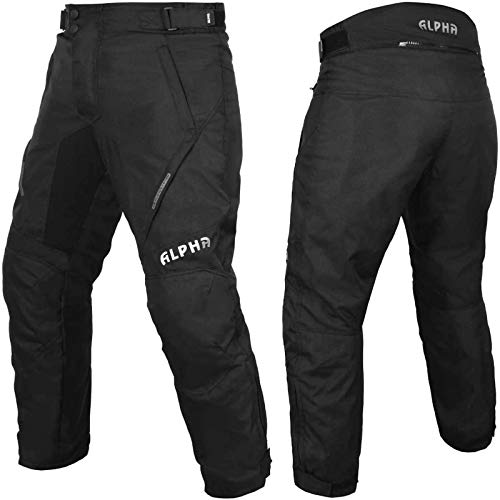 All Weather Motorcycle Pants Men Motocross Motorbike Pants Overpants Touring Adventure Enduro Waterproof CE Armor (Black, Waist 36'-38' Inseam 30')