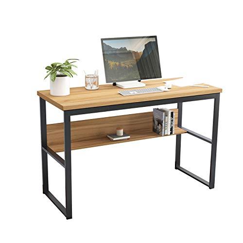 sogesfurniture Schreibtisch Computertisch 120 x 55cm PC Laptop Tisch Bürotisch Arbeitstisch mit Ablage, aus Holz und Stahl, Eiche BHEU-LD-JB01-120OK