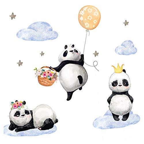 Little Deco Kinderzimmer Mädchen Aufkleber DREI Pandas Ballon Blumen Wandtattoo Tiere Wandaufkleber Deko Babyzimmer Junge Kinder Wandsticker Sticker DL209-5